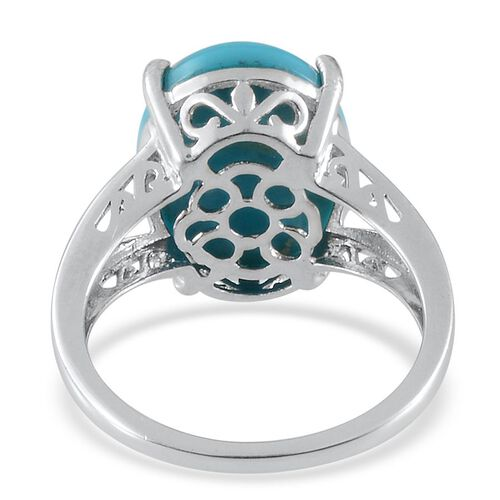 Arizona Sleeping Beauty Turquoise (Ovl) Solitaire Ring in Platinum Overlay Sterling Silver 6.750 Ct.