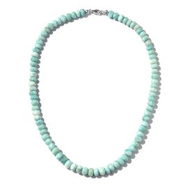 170 Ct Larimar Beaded Necklace with Lobster Lock in Platinum Plated Silver 18 Inch