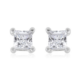 9K W Gold SGL Certified Diamond (I3/G-H) Stud Earrings (with Push Back) 0.25 Ct.