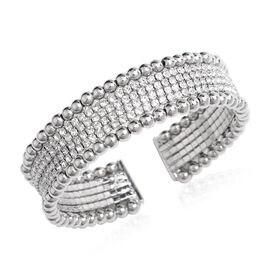 White Austrian Crystal Cuff Flexible Bangle in Silver Tone