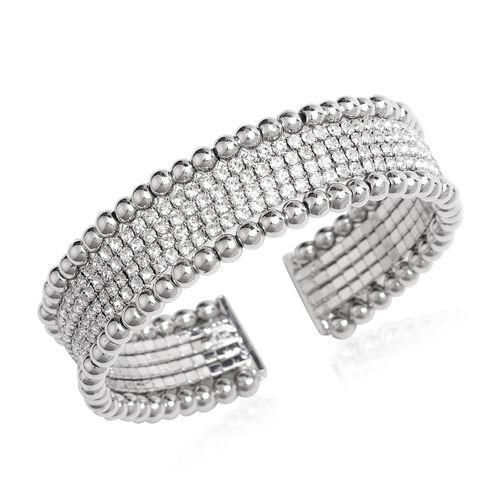 White Austrian Crystal Cuff Flexible Bangle in Silver Tone