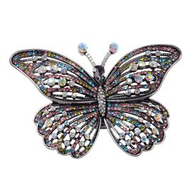 Multi Colour Austrian Crystal Butterfly Pendant With Chain (Size 24) or Brooch in Stainless Steel