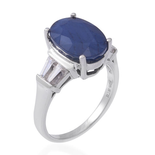 Extremely Rare Size Madagascar Blue Sapphire (Ovl 14x10 mm), Natural Cambodian White Zircon Ring in Rhodium Overlay Sterling Silver 9.690 Ct
