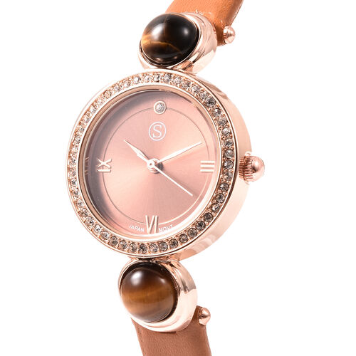 2 Piece Set - STRADA Japanese Movement Yellow Tiger Eye and White Austrian Crystal Studded Water Resistant Watch with Coffee Strap and Pendant with Chain (Size 28) in Rose Gold Tone 16.00 Ct.