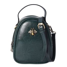 100% Genuine Leather Bee Crossbody Bag with Detachable Strap (Size 14x8x20 Cm) - Olive Green