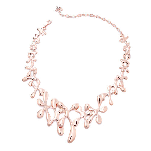 LucyQ Rose Gold Overlay Sterling Silver Splash Necklace (Size 15 with 5 inch Extender), Silver wt 73.60 Gms
