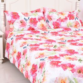 4 Piece Set - Pink Floral Print Comforter, Fitted Sheet and Two Pillow Case King Size - Pink Colour