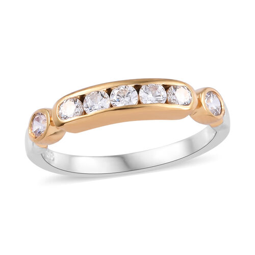 J Francis Made with Swarovski Zirconia Half Eternity Ring in Tow Tone Plated Sterling Silver