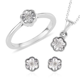 3 Piece Set Diamond (Rnd) Ring, Earrings (with Push Back) and Pendant With Chain (Size 20) in Platin