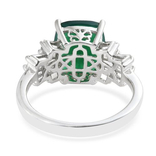 Verde Onyx (Cush 4.25 Ct), White Topaz Ring in Platinum Overlay Sterling Silver 5.250 Ct.