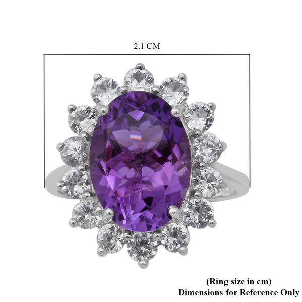 Natural Lusaka Amethyst and Natural Cambodian Zircon Floral Halo Ring in Rhodium Overlay Sterling Silver 7.86 Ct.