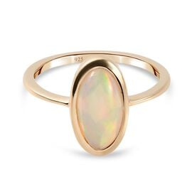 9K Yellow Gold Ethiopian Welo Opal Solitaire Ring 1.60 Ct.