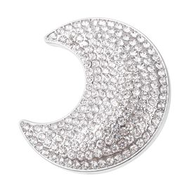 White Austrian Crystal Crescent Moon Brooch in Silver Tone
