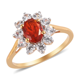Jalisco Fire Opal and Natural Cambodian Zircon Ring in 14K Gold Overlay Sterling Silver 1.48 Ct.
