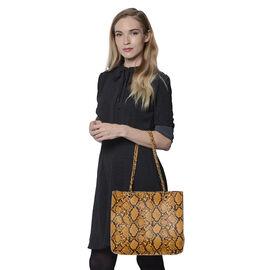Yellow Snake Skin Pattern Tote Bag (Size 32x11x28cm)