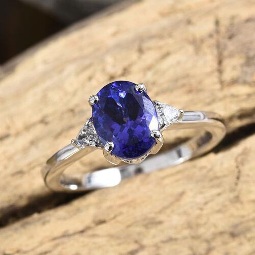 RHAPSODY 950 Platinum AAAA Tanzanite (Ovl 2.55 Ct), Diamond (VS/E-F) Ring  2.750 Ct, Platinum wt 5.2 Gms.
