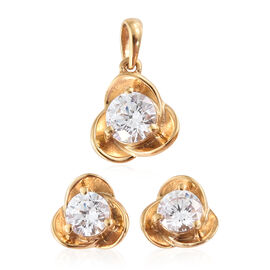 Swarovski Zirconia (2.00 Ct) 14K Gold Overlay Sterling Silver 2 Pcs Earring and Pendant Set  2.000  Ct.