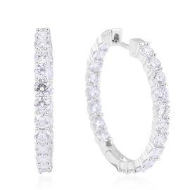 14K White Gold Diamond (SI2/ G-H) Hoop Earrings 4.00 Ct, Gold wt 5.21 Gms