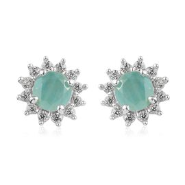 Grandidierite and Natural Cambodian Zircon Starburst Halo Stud Earrings (with Push Back) in Platinum