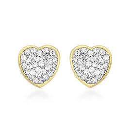 Children Crystal Heart Stud Earrings in 9K Gold