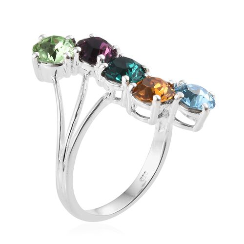 J Francis Crystal From Swarovski - Multi Colour Crystal (Rnd) Ring in Sterling Silver, Silver wt 3.47 Gms.