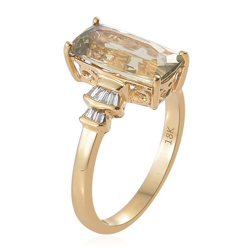 Collectors Edition- ILIANA 18K Yellow Gold AAA Turkizite (Cush) and Diamond (SI/G-H) Ring 2.850 Ct.