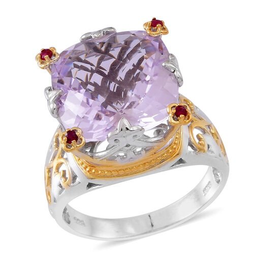 Designer Inspired-Checkerboard Cut Rose De France Amethyst (Cush), Burmese Ruby Ring in Rhodium and Yellow Gold Overlay Sterling Silver 12.500 Ct. Silver wt 5.65 Gms.