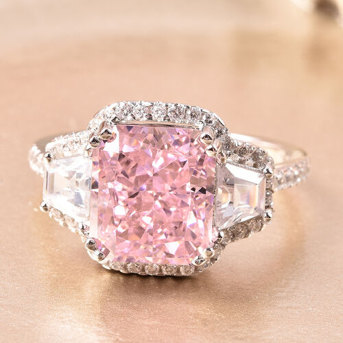 ELANZA Simulated Pink Diamond and Simulated White Diamond Ring in Rose Gold Overlay Sterling Silver 11.00 Ct.