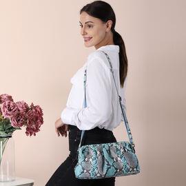 SENCILLEZ 100% Genuine Leather Snake Skin Pattern Clutch Bag with Detachable Shoulder Strap and Zipper Closure (Size 31x18.5x9 Cm) - Teal and Khaki