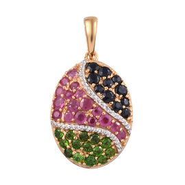 African Ruby (Rnd), Russian Diopside and Kanchanaburi Blue Sapphire Pendant in 14K Gold Overlay Ster