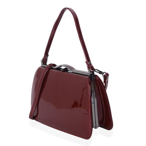 Boutique Limited  Collection High Glossed Vintage Style Burgundy Colour Tote Bag with Removable Shoulder Strap (Size 28x17x9.5 Cm)