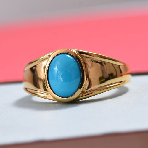 Arizona Sleeping Beauty Turquoise (Ovl 9x7mm) Ring in 14K Gold Overlay Sterling Silver 1.65 Ct, Silver wt 5.84 Gms