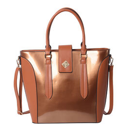 Brown Patent Satchel Bag with Adjustable Shoulder Strap (38x29x14.5x31cm)