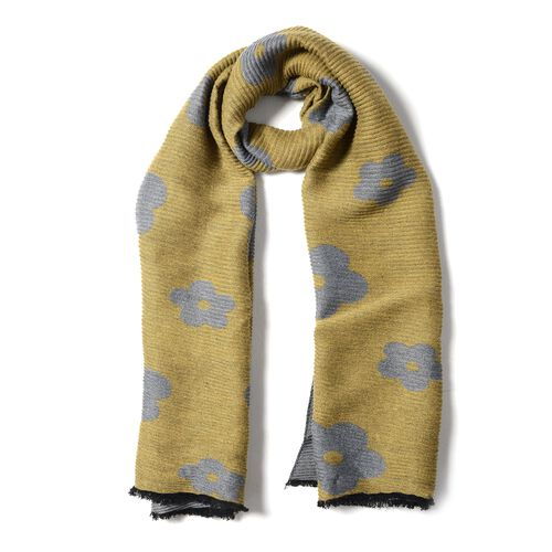 Designer Inspired-Dark Yellow and Blue Colour Plum Blossom Flower Pattern Scarf (Size 200x65)