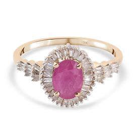 Limited Edition- 9K Yellow Gold Natural Mozambique Ruby and Diamond Ring 1.35 Ct.