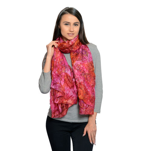 100% Mulberry Silk Pink, Orange and Multi Colour Water Stroke and Floral Hand Screen Printed Scarf (