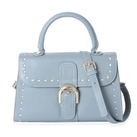 Mayfair Classic100% Genuine Leather Light Blue Colour Tote Bag with Removable Shoulder Strap (Size 2