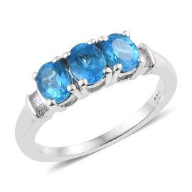 Malgache Neon Apatite (Ovl), Diamond Ring in Platinum Overlay Sterling Silver 1.00 Ct.