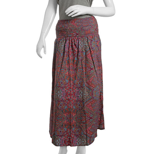 Last Chance Summer Collection - Shirred Midi Bell Dress - Fuchsia, Orange and Multi Colour Paisley Printed (One Size)