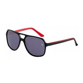 DAVIDOFF Unisex Black Shield Sunglasses with Red Interior and Black Lenses