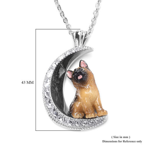 White Austrian Crystal Engraved Moon and Enamelled German Shepherd Dog Pendant with Chain (Size 20) in Stainless Steel