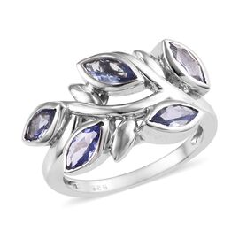 Tanzanite (Mrq) Leaf Design Ring in Platinum Overlay Sterling Silver 1.15 Ct.