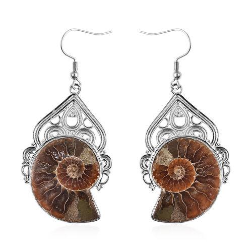 50 Ct Ammonite Dangle Drop Earrings in Silver Tone