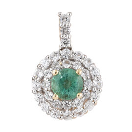 1.3 Ct AA Zambian Emerald and Cambodian Zircon Halo Pendant in 9K Gold 1.66 Grams
