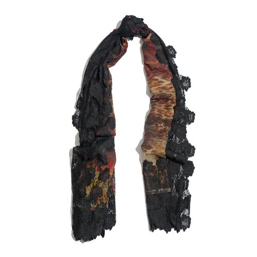 Hand Knitted - (50% Mulberry Silk and 50% Merino Wool) Black and Multi Colour Leopard and Floral Pattern Scarf with Floral Lace Border (Size 170x75 Cm)