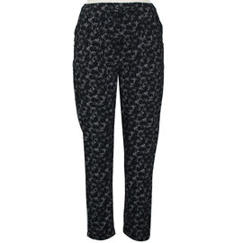 Pure and Natural Elasticated Tapered Printed Trousers in Black L: 27 inches