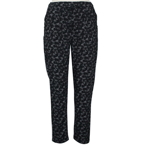 Pure and Natural Elasticated Tapered Printed Trousers in Black (Size 14, L: 27 inches)