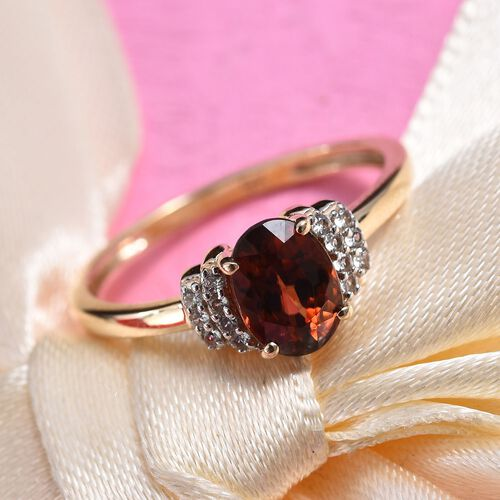 Tucson Close Out- AAA Rare Red Zircon (Ovl 7x5mm), Natural Cambodian Zircon Ring in 9K Yellow Gold.1.50 Ct