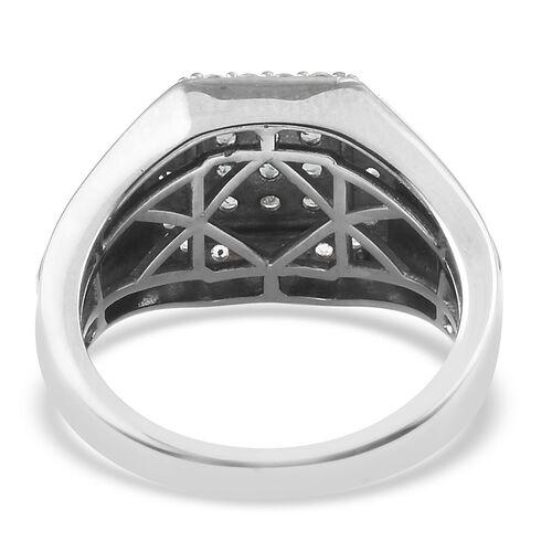 Narsipatnam Alexandrite (Rnd), Natural Cambodian Zircon Cluster Ring in Platinum Overlay Sterling Silver 0.91 Ct, Silver wt 6.46 Gms