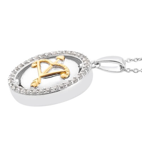 Natural Cambodian Zircon Zodiac-PiscSagittarius es Pendant with Chain (Size 20) in Yellow Gold and Platinum Overlay Sterling Silver, Silver wt. 6.60 Gms